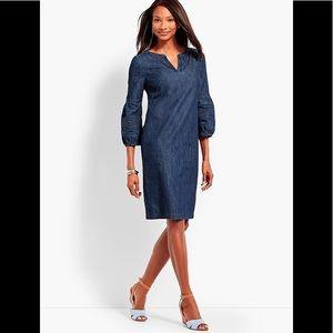 Talbots Striated Blue Denim Cotton Shift Dress 12